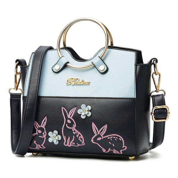 Metal Ring Rabbit Embroidery Handbag - BLUE