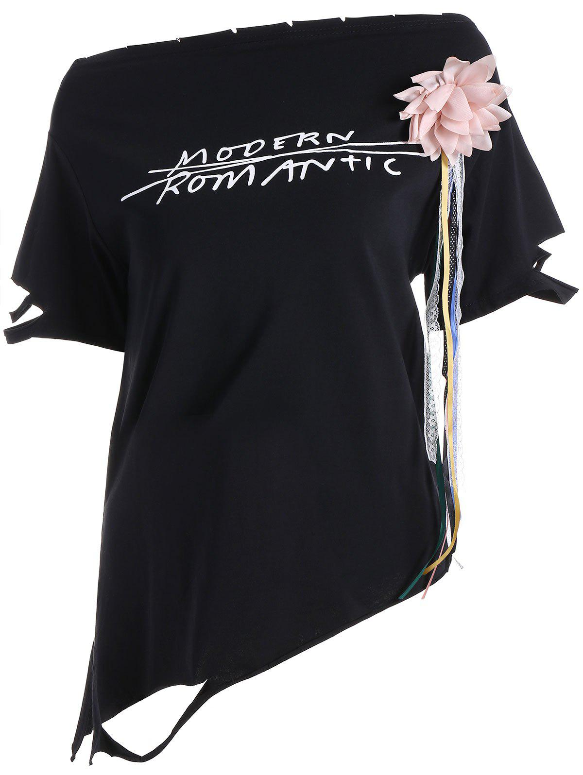 Graphic Stereo Floral Design Asymmetrical Tee - BLACK ONE SIZE