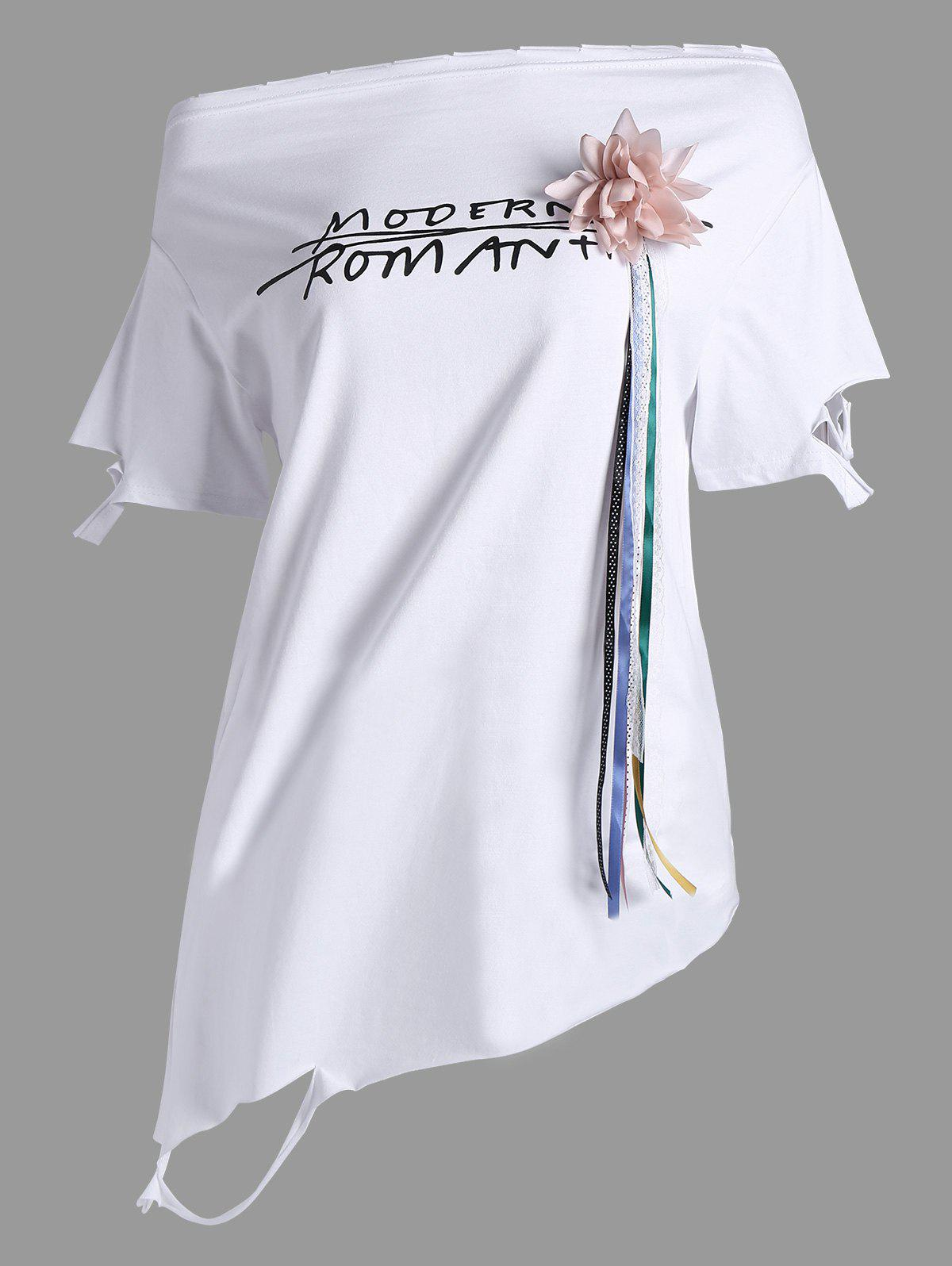 Graphic Stereo Floral Design Asymmetrical Tee - WHITE ONE SIZE