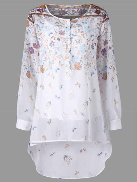 Tiny Floral Henley Blouse with Camisole - Blanc 2XL