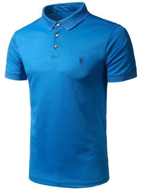 2018 Half Button Embroidery Logo Polo Shirt Blue L In T Shirts