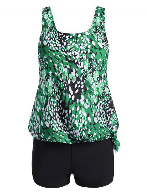 Plus Size Blouson Printed Tankini - GREEN 3XL