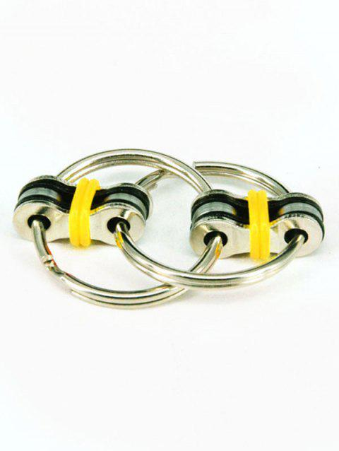 Stress Relief Toy Key Ring Fidget Spinner - YELLOW