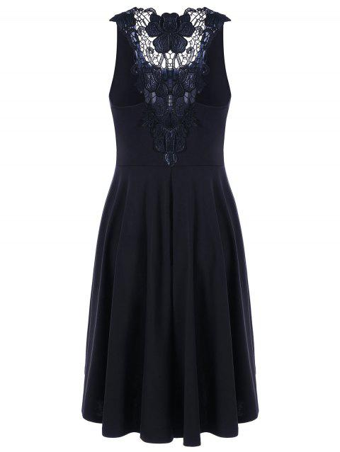 Lace Trim High Low Hem Dress - BLACK M