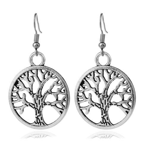 Tree Of Life Circle Dangle Earrings Silver