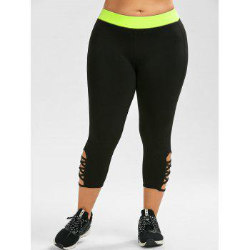 Plus Size Criss Cross Capri Sporty Leggings - FLUORESCENT YELLOW 4XL