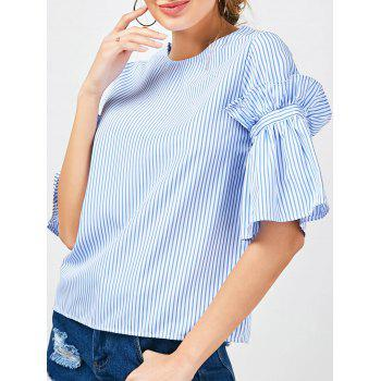 Bell Sleeve Striped Ruffle Blouse - BLUE STRIPE M