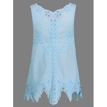 Bohemian Women's Scoop Neck Solid Color Crochet Sleeveless Blouse - ONE SIZE ONE SIZE