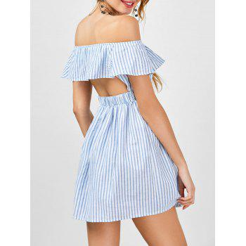 Striped Cut Out Off The Shoulder Cocktail Dress