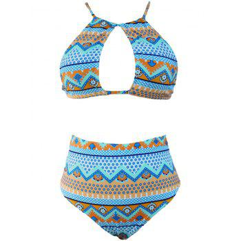 Keyhole High Waist Bikini Set - LIGHT BLUE XL