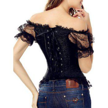 Off-The-Shoulder Mesh Lace-Up Corset Top With Sleeve - BLACK BLACK