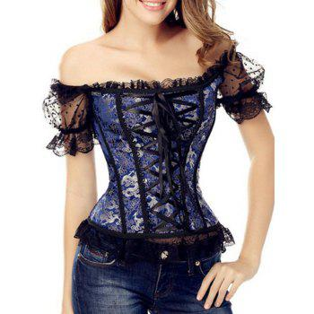 Off-The-Shoulder Mesh Lace-Up Corset Top With Sleeve