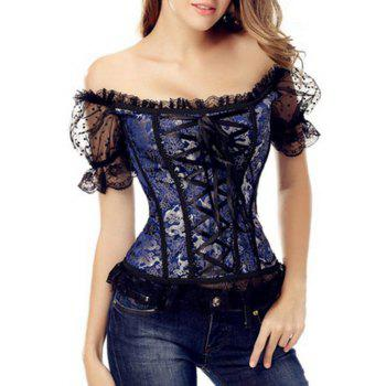 Off-The-Shoulder Mesh Lace-Up Corset Top With Sleeve - DEEP BLUE DEEP BLUE