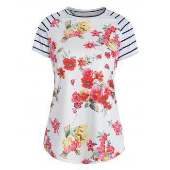 Stripes Floral Raglan Sleeve T-Shirt