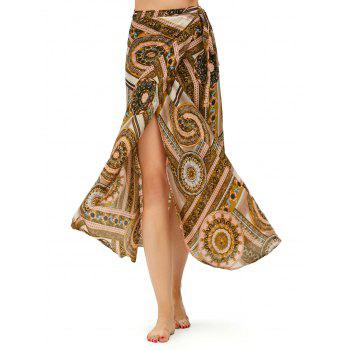 High Waisted Boho Print Chiffon Wrap Skirt