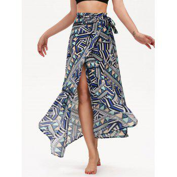 High Waisted Geometric Print Chiffon Wrap Skirt