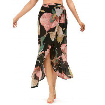High Waist Lotus Leaf Chiffon Wrap Skirt