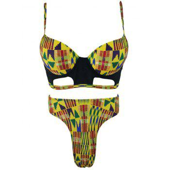 High Waisted Underwire Tribal Bikini Set - COLORMIX S