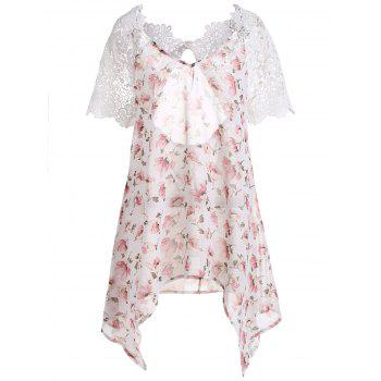 Plus Size Lace Insert Backless Floral Asymmetric Chiffon Top