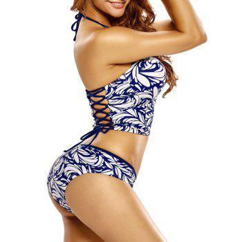Halter Leaf Print Lace-Up Underwire Bikini Set - BLUE/WHITE BLUE/WHITE