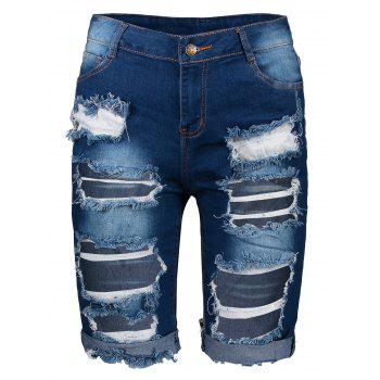 Stylish High Waist Ripped Slimming Women's Denim Shorts