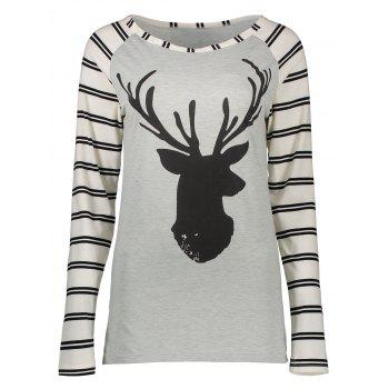 Striped Elk Printed Raglan Sleeve T-Shirt