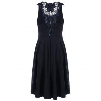 Lace Trim High Low Hem Dress - BLACK L