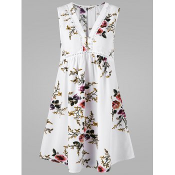V Neck Floral Sleeveless Dress