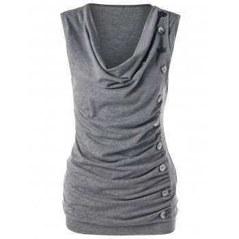 Single Breasted Cowl Neck Sleeveless T-Shirt