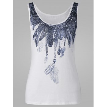 Scoop Neck Feather Pattern Tank Top