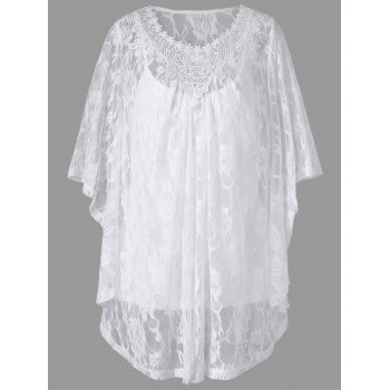 Plus Size Butterfly Sleeve Lace Blouse with Camisole