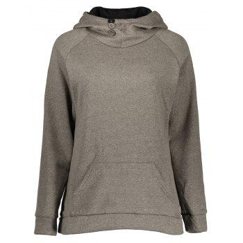 Casual Style Long Sleeve Hooded Front Pocket Design Women's Khaki Hoodie
