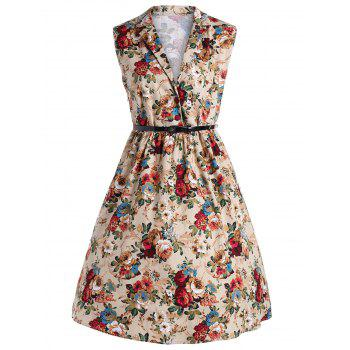 Plus Size Vintage Floral Midi Shirt Dress With Belt