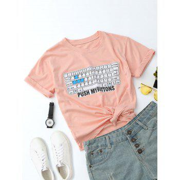 Round Neck Letter Keyboard Print Tee