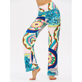 High Waisted Colorful Print Boho Pants