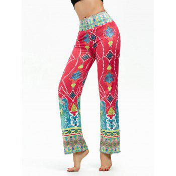 Elastic High Waisted Ethnic Print Boho Pants