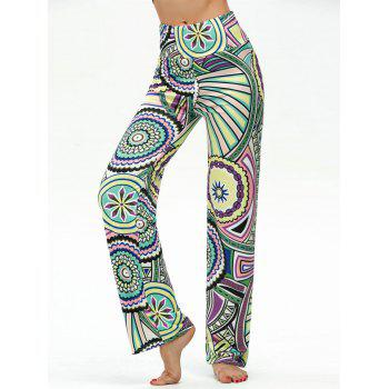 High Waisted Round Geometric Print Boho Pants