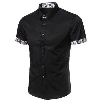 Short Sleeve Paisley Print Panel Shirt
