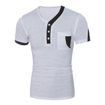 Polka Dot Print Panel Slim Fit Short Sleeve T-Shirt