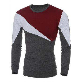 Color Block Irregular Panel Long Sleeve T-Shirt