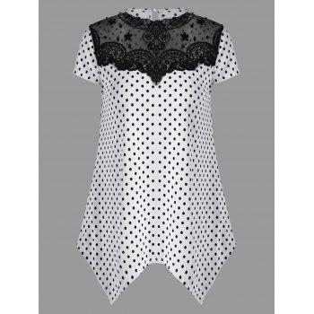 Lace Insert Polka Dot T-Shirt