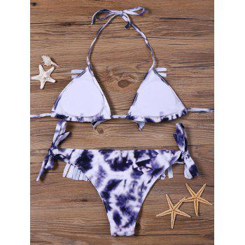 Fringed Tie Side Tie Dye Bikini Set - S S