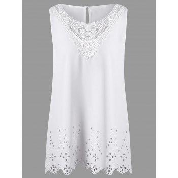Plus Size Openwork Scalloped Edge Sleeveless Blouse