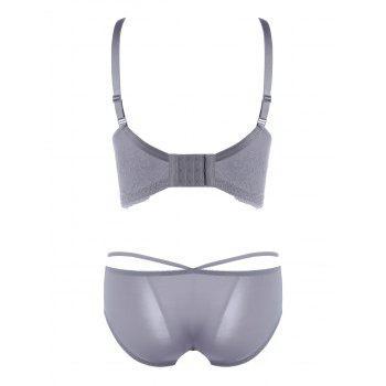 Lace Strappy Push Up Bra Set - GRAY GRAY