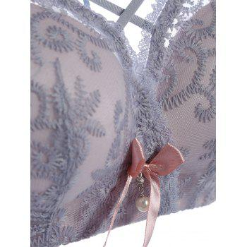 Embroidered Bra Set with Bowknots - 75A 75A