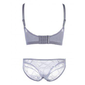 Embroidered Bra Set with Bowknots - 85A 85A