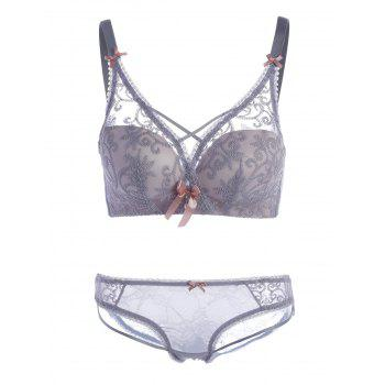 Embroidered Bra Set with Bowknots - LIGHT GRAY 85A