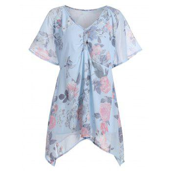Plus Size Asymmetric Floral Chiffon Swing Blouse