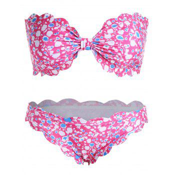 Strapless Padded Floral Plus Size Bikini