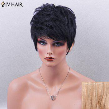Siv Hair Layered Short Side Bang Slightly Curled Pixie Human Hair Wig